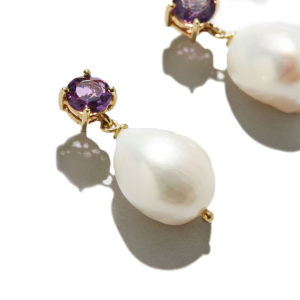 Dolly Boucoyannis Amethyst Pearl Earrings