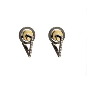 Anileve Yellow Gold and Rhodium Plated Earrings