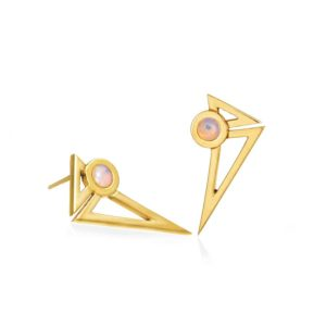 Anileve Yellow Gold Plated and Opal Earrings