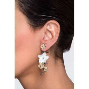 Anileve Long Flower-Brunch Earjacks on model