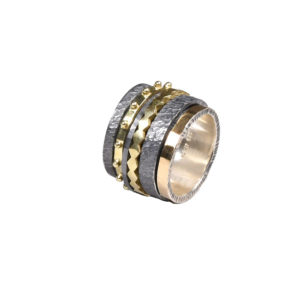 K. And Handmade Silver and Gold Ring