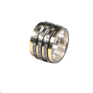 K.Αnd Rough and Roll Handmade Gold and Silver Ring