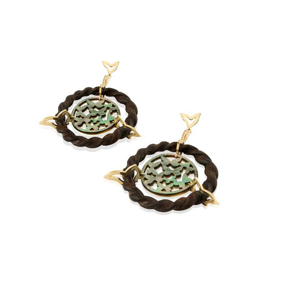 Marlen Ht Ebony Mother of Pearl Gold Earrings