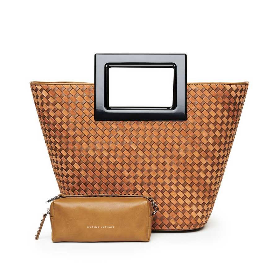 Marina Raphael RIVIERA Terracotta Woven Leather Bag