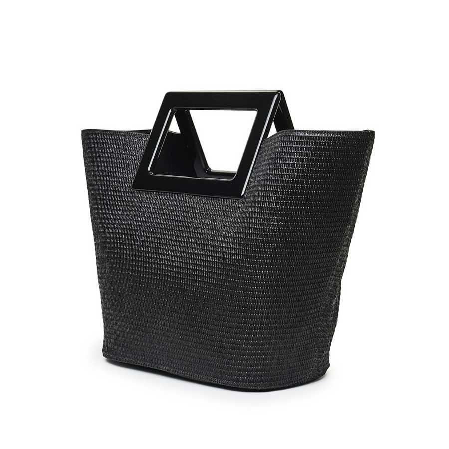 Marina Raphael Riviera black straw bag