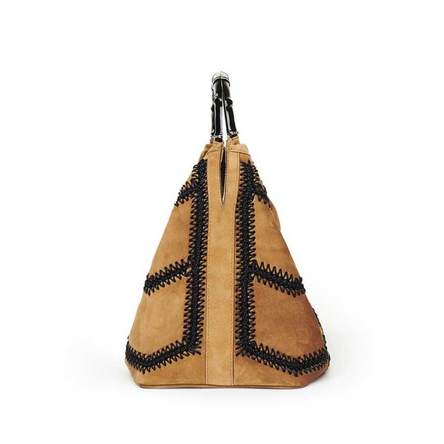 SIENNA Caramel Crochet Suede Bag