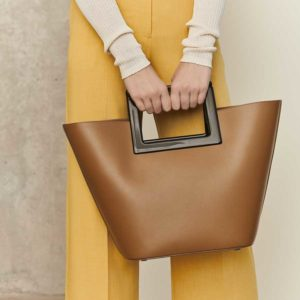 Marina Raphael RIVIERA Caramel Leather Bag on model
