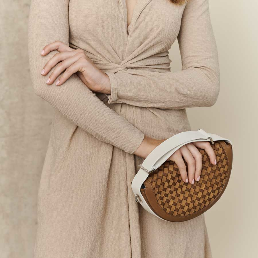 Marina Raphael RENE Caramel Woven Leather Bag on model