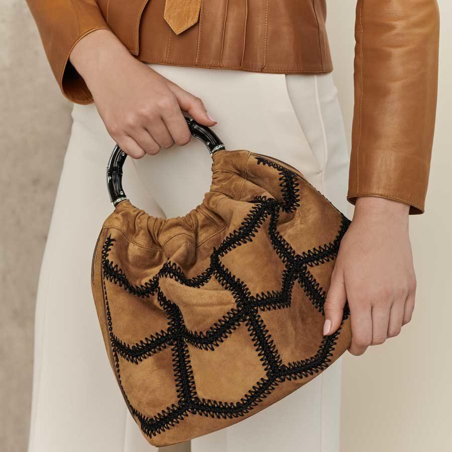 Marina Raphael SIENNA Caramel Crochet Suede Bag