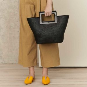 Marina Raphael Riviera black straw bag on model