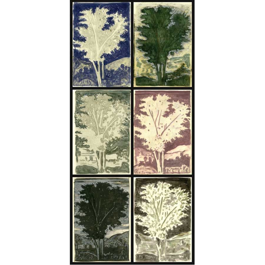 Markos Kampanis Δ2. Variations on a tree by Poussin. 2011. Monotypes on paper 76x36