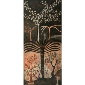 Markos Kampanis. Δ5. Trees, Antiquity. Acrylic, charcoal and pastel on paper and wood, 90x40
