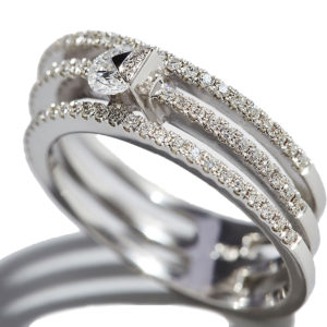 Orofasma Diamond and Triangle Triple Wedding Ring