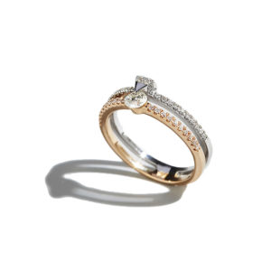 Orofasma White and Yellow Double Wedding Ring