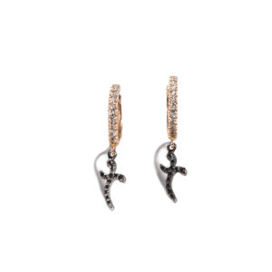 Orofasma Curved Cross Creole Earrings