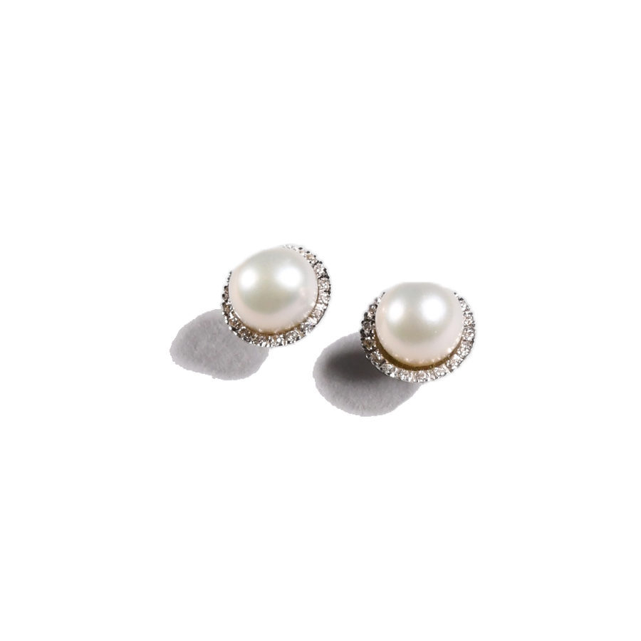 Orofasma Pearl and Diamonds Studs Earrings