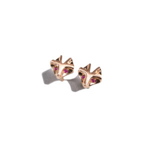 Orofasma Rubies Eyes Cat Studs Earrings
