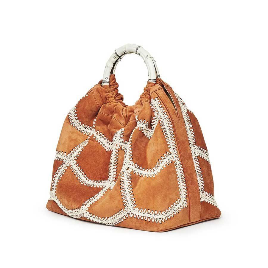 Marina Raphael Marina Raphael SIENNA Terracotta Crochet Suede Bag