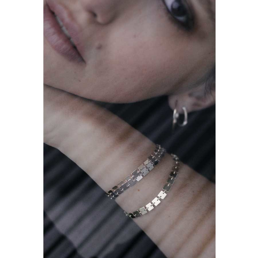 Lilian von Trapp Double Wristline Polished and Matte Bracelet on model A1802B