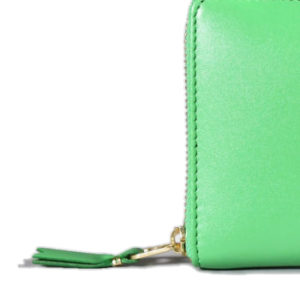 Color Plain Leather Wallet Green