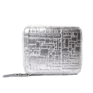 Comme des Garcons Metallic Embossed Wallet Silver
