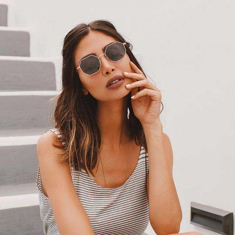 Gamma Gold Sunglasses on model