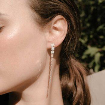Lilian von Trapp Elevens Polished Earrings on model O1804A