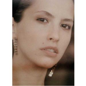 Lilian von Trapp Three Rows Polished Matte Earrings O1805A on model