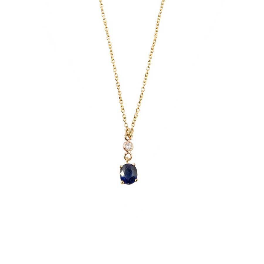 Marlen Ht Gold Diamond and Sapphire Necklace MHN1045