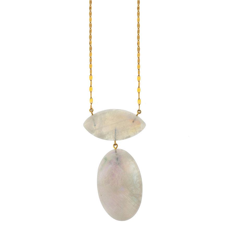 Lito Fine Jewelry Chain and cabochon-cut Moonstones Necklace LITON-L-040 A