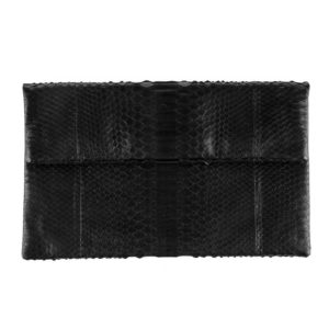 Wings Envelope Large Black Semi Glossed Clutch