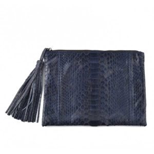 Wings Nora Large Dark Blue Semi Glossed Clutch