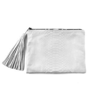 Wings Nora Large White Semi Gloss Clutch