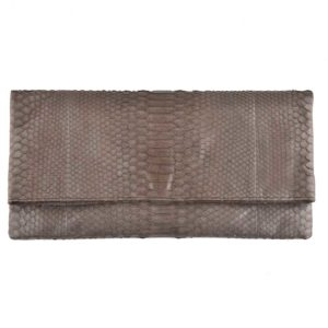 Wings Oversized Clutch Taupe Semi Glossed