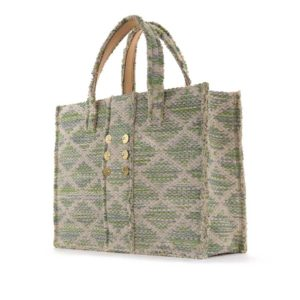 Kooreloo Rhombus Green Knot Fabric Book Tote KRL.1105.16.1