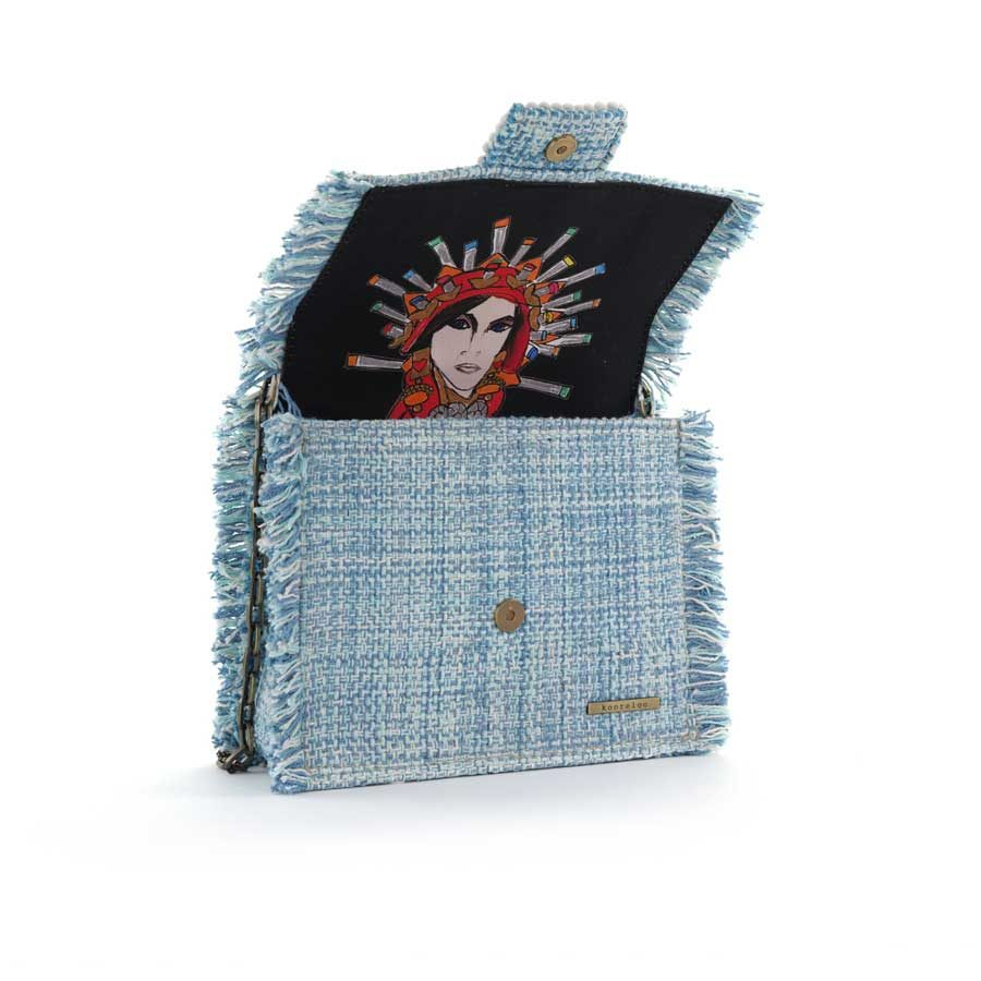 Kooreloo Epiphany Maxima Aquamarine Fabric Shoulder Bag KRL.1100.80