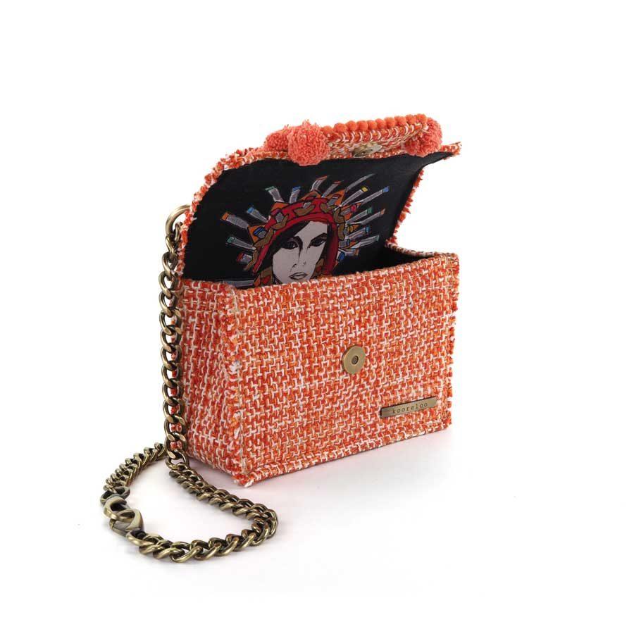 Kooreloo Epiphany Petite Juliet Pumpkin Fabric Shoulder Bag on model KRL.7147.81