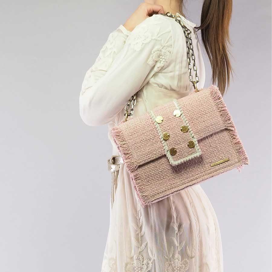 Kooreloo Epiphany Maxima Baby Pink Fabric Shoulder Bag on model KRL.1100.52