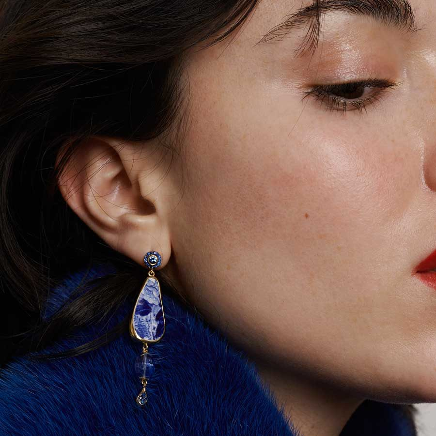 Dolly Boucoyannis Semi Precious Stones Chavorite and Glass Earrings on model DBE174