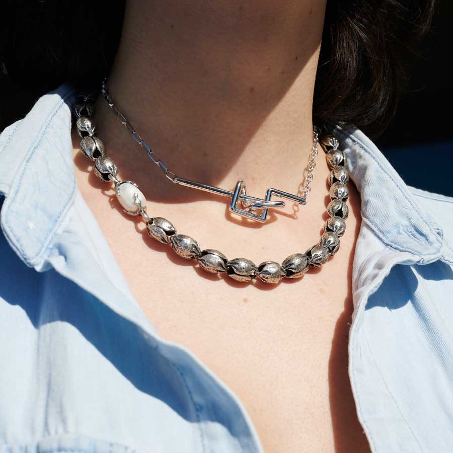 Katerina Koukou Necklace Nut With Pearl on model KKKO60
