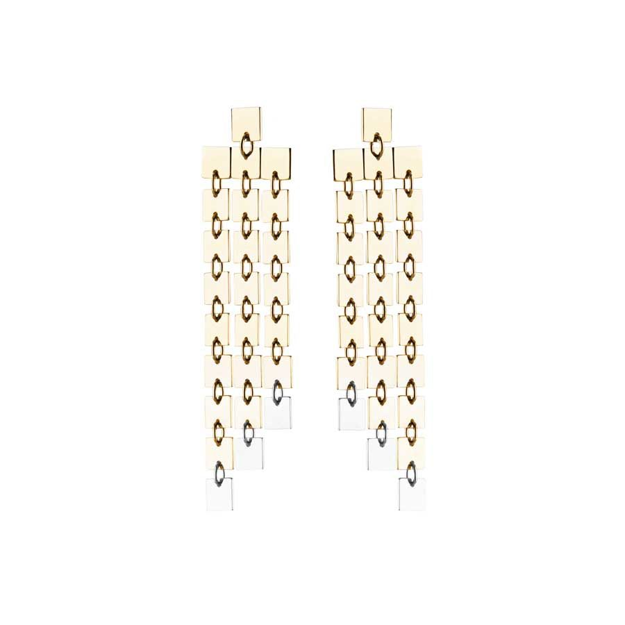 Lilian von Trapp Three Rows Polished Matte Earrings O1805A