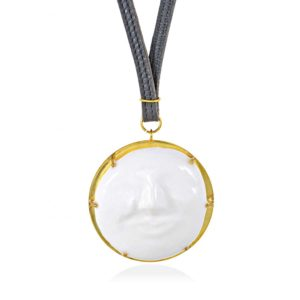 Thania Iordanidou Gold Plated Large Face Pendant N305G