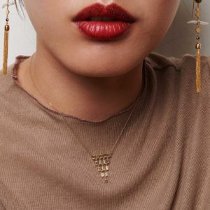 Oona Baguette Cascade Necklace on model PH09.118