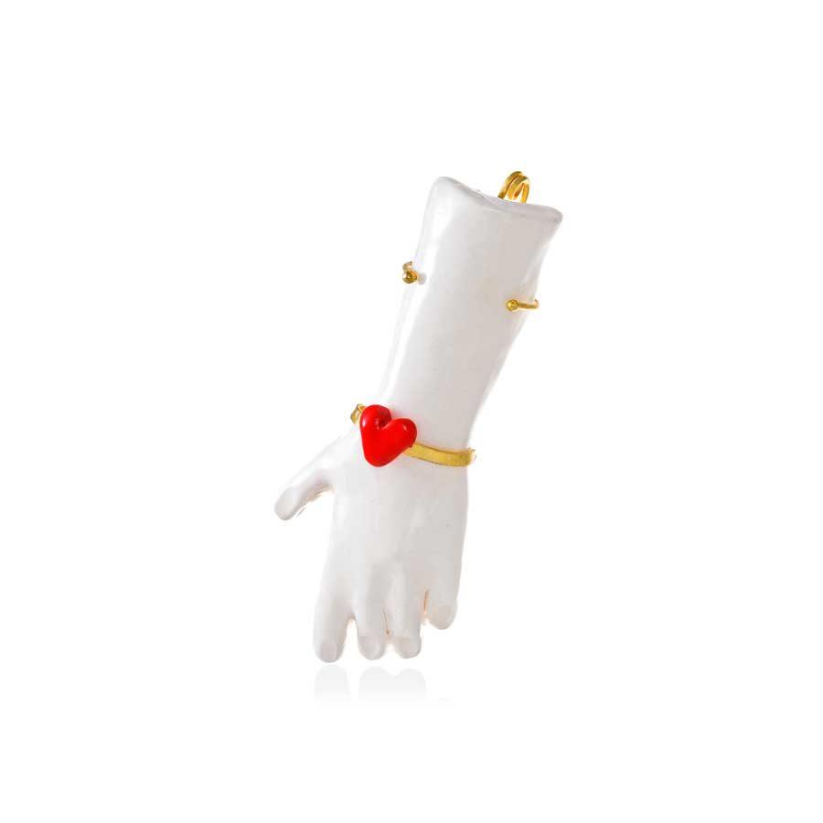 Thania Iordanidou Hand Pendant with Heart Bracelet P301