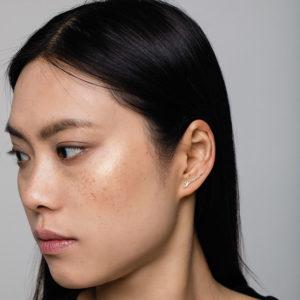 Polina Ellis Lobe Erechthus Earring with diamonds PSerS8G18D on model