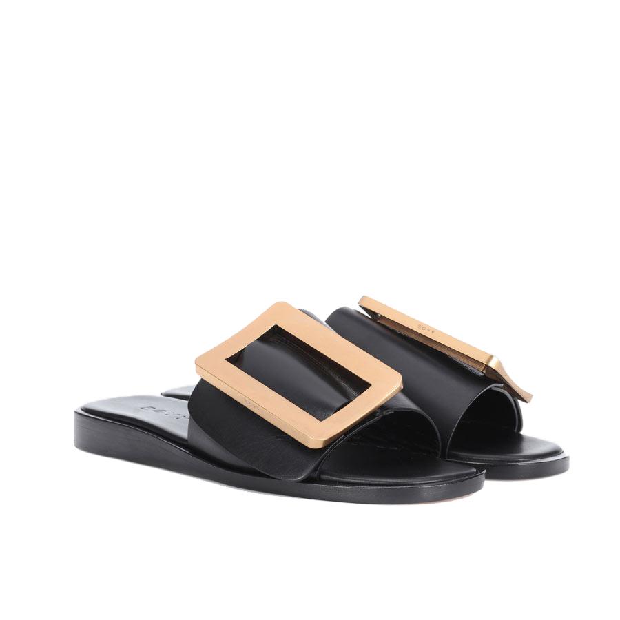 962b2dc3afcb Embellished Leather Black Sandals - i-D Concept Stores