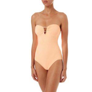 Melissa Odabash Argentina Mango Pique Bandeau Triangle Trim Swimsuit