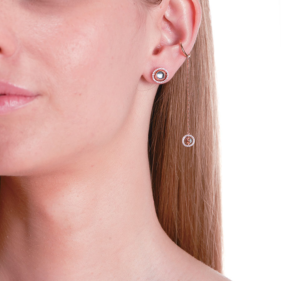 Marie Mas Swiveling Long Single Clip Earring on model RSSPGAT10