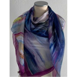 The Art & Fashion Project Purple Abstract Muslin Scarf TAFP1.MUSLIN