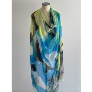 The Art & Fashion Project Sky Blue Abstract Muslin Scarf TAFP2.MUSLIN